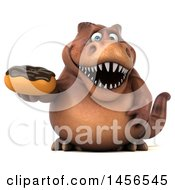 Clipart Graphic Of A 3d Brown Tommy Tyrannosaurus Rex Dinosaur Mascot Holding A Donut On A White Background Royalty Free Illustration