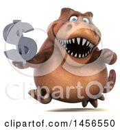 Clipart Graphic Of A 3d Brown Tommy Tyrannosaurus Rex Dinosaur Mascot Holding A Dollar Sign On A White Background Royalty Free Illustration