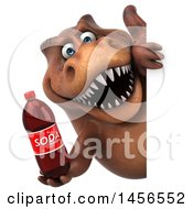 Clipart Graphic Of A 3d Brown Tommy Tyrannosaurus Rex Dinosaur Mascot Holding A Soda On A White Background Royalty Free Illustration