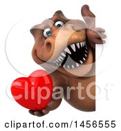 Clipart Graphic Of A 3d Brown Tommy Tyrannosaurus Rex Dinosaur Mascot Holding A Love Heart On A White Background Royalty Free Illustration