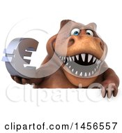 Poster, Art Print Of 3d Brown Tommy Tyrannosaurus Rex Dinosaur Mascot Holding A Euro Symbol Sign On A White Background