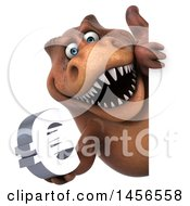 Clipart Graphic Of A 3d Brown Tommy Tyrannosaurus Rex Dinosaur Mascot Holding A Euro Symbol Sign On A White Background Royalty Free Illustration