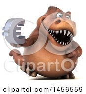 Clipart Graphic Of A 3d Brown Tommy Tyrannosaurus Rex Dinosaur Mascot Holding A Euro Symbol On A White Background Royalty Free Illustration