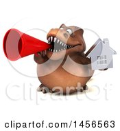 Clipart Graphic Of A 3d Brown Tommy Tyrannosaurus Rex Dinosaur Mascot Holding A House On A White Background Royalty Free Illustration