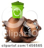 Clipart Graphic Of A 3d Brown Tommy Tyrannosaurus Rex Dinosaur Mascot Holding A Recycle Bin On A White Background Royalty Free Illustration