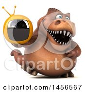 Clipart Graphic Of A 3d Brown Tommy Tyrannosaurus Rex Dinosaur Mascot Holding A Tv On A White Background Royalty Free Illustration