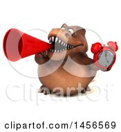 Clipart Graphic Of A 3d Brown Tommy Tyrannosaurus Rex Dinosaur Mascot Holding An Alarm Clock On A White Background Royalty Free Illustration