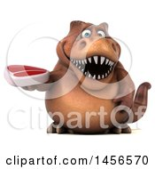 Poster, Art Print Of 3d Brown Tommy Tyrannosaurus Rex Dinosaur Mascot Holding A Steak On A White Background