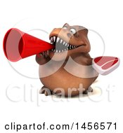 Clipart Graphic Of A 3d Brown Tommy Tyrannosaurus Rex Dinosaur Mascot Holding A Steak On A White Background Royalty Free Illustration