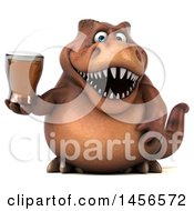 Poster, Art Print Of 3d Brown Tommy Tyrannosaurus Rex Dinosaur Mascot Holding A Beer On A White Background