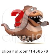 Clipart Graphic Of A 3d Brown Tommy Tyrannosaurus Rex Dinosaur Mascot Holding A Question Mark On A White Background Royalty Free Illustration