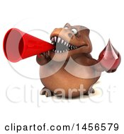 Clipart Graphic Of A 3d Brown Tommy Tyrannosaurus Rex Dinosaur Mascot Holding A Blood Drop On A White Background Royalty Free Illustration