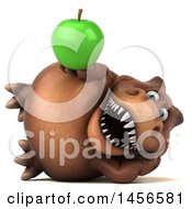 Clipart Graphic Of A 3d Brown Tommy Tyrannosaurus Rex Dinosaur Mascot Holding An Apple On A White Background Royalty Free Illustration