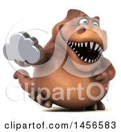 Clipart Graphic Of A 3d Brown Tommy Tyrannosaurus Rex Dinosaur Mascot Holding A Cloud On A White Background Royalty Free Illustration