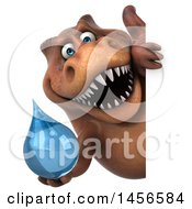 Clipart Graphic Of A 3d Brown Tommy Tyrannosaurus Rex Dinosaur Mascot Holding A Water Drop On A White Background Royalty Free Illustration