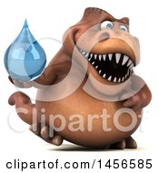 Poster, Art Print Of 3d Brown Tommy Tyrannosaurus Rex Dinosaur Mascot Holding A Water Drop On A White Background