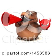 Clipart Graphic Of A 3d Brown Tommy Tyrannosaurus Rex Dinosaur Mascot Holding A Devil Head On A White Background Royalty Free Illustration
