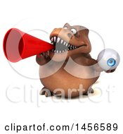 Clipart Graphic Of A 3d Brown Tommy Tyrannosaurus Rex Dinosaur Mascot Holding An Eyeball On A White Background Royalty Free Illustration