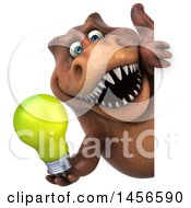 Clipart Graphic Of A 3d Brown Tommy Tyrannosaurus Rex Dinosaur Mascot Holding A Light Bulb On A White Background Royalty Free Illustration