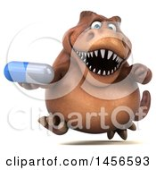 Clipart Graphic Of A 3d Brown Tommy Tyrannosaurus Rex Dinosaur Mascot Holding A Pill On A White Background Royalty Free Illustration
