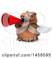 Clipart Graphic Of A 3d Brown Tommy Tyrannosaurus Rex Dinosaur Mascot Holding A Plate On A White Background Royalty Free Illustration
