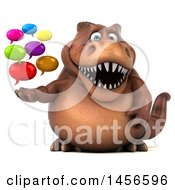 Clipart Graphic Of A 3d Brown Tommy Tyrannosaurus Rex Dinosaur Mascot Holding Speech Bubbles On A White Background Royalty Free Illustration