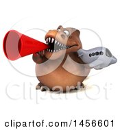 Clipart Graphic Of A 3d Brown Tommy Tyrannosaurus Rex Dinosaur Mascot Holding A Plane On A White Background Royalty Free Illustration