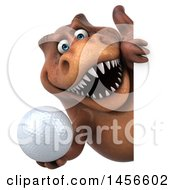Clipart Graphic Of A 3d Brown Tommy Tyrannosaurus Rex Dinosaur Mascot Holding A Golf Ball On A White Background Royalty Free Illustration