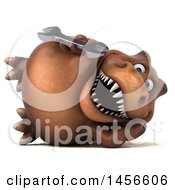 Clipart Graphic Of A 3d Brown Tommy Tyrannosaurus Rex Dinosaur Mascot Holding A Wrench On A White Background Royalty Free Illustration by Julos