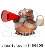 Clipart Graphic Of A 3d Brown Tommy Tyrannosaurus Rex Dinosaur Mascot Holding A Padlock On A White Background Royalty Free Illustration by Julos
