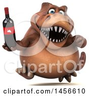 Clipart Graphic Of A 3d Brown Tommy Tyrannosaurus Rex Dinosaur Mascot Holding A Wine Bottle On A White Background Royalty Free Illustration by Julos
