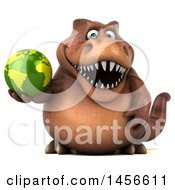 Clipart Graphic Of A 3d Brown Tommy Tyrannosaurus Rex Dinosaur Mascot Holding A Globe On A White Background Royalty Free Illustration by Julos