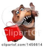 Clipart Graphic Of A 3d Brown Tommy Tyrannosaurus Rex Dinosaur Mascot Holding A Shopping Bag On A White Background Royalty Free Illustration by Julos