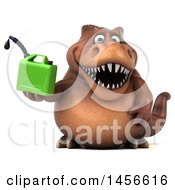 Clipart Graphic Of A 3d Brown Tommy Tyrannosaurus Rex Dinosaur Mascot Holding A Gas Can On A White Background Royalty Free Illustration by Julos