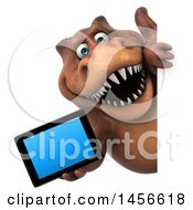 Clipart Graphic Of A 3d Brown Tommy Tyrannosaurus Rex Dinosaur Mascot Holding A Tablet Computer On A White Background Royalty Free Illustration by Julos