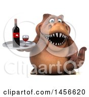 Clipart Graphic Of A 3d Brown Tommy Tyrannosaurus Rex Dinosaur Mascot Holding A Wine Tray On A White Background Royalty Free Illustration by Julos