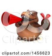 Clipart Graphic Of A 3d Brown Tommy Tyrannosaurus Rex Dinosaur Mascot Holding A Chocolate Egg On A White Background Royalty Free Illustration by Julos