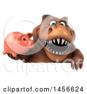 Clipart Graphic Of A 3d Brown Tommy Tyrannosaurus Rex Dinosaur Mascot Holding A Piggy Bank On A White Background Royalty Free Illustration by Julos