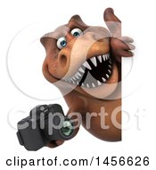 Clipart Graphic Of A 3d Brown Tommy Tyrannosaurus Rex Dinosaur Mascot Holding A Camera On A White Background Royalty Free Illustration by Julos
