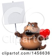 Poster, Art Print Of 3d Brown Tommy Tyrannosaurus Rex Dinosaur Mascot Holding A Love Heart On A White Background