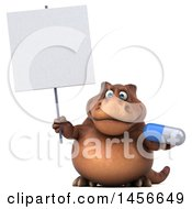 3d Brown Tommy Tyrannosaurus Rex Dinosaur Mascot Holding A Pill On A White Background