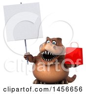Clipart Graphic Of A 3d Brown Tommy Tyrannosaurus Rex Dinosaur Mascot Holding A Shopping Bag On A White Background Royalty Free Illustration