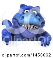 Clipart Graphic Of A 3d Blue Tommy Tyrannosaurus Rex Dinosaur Mascot Giving A Thumb Down On A White Background Royalty Free Illustration