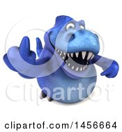 Clipart Graphic Of A 3d Blue Tommy Tyrannosaurus Rex Dinosaur Mascot Holding Up A Middle Finger On A White Background Royalty Free Illustration