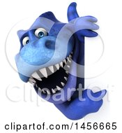 Clipart Graphic Of A 3d Blue Tommy Tyrannosaurus Rex Dinosaur Mascot On A White Background Royalty Free Illustration
