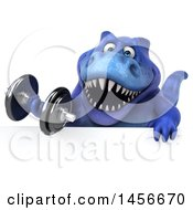 Clipart Graphic Of A 3d Blue Tommy Tyrannosaurus Rex Dinosaur Mascot Working Out With A Dumbbell On A White Background Royalty Free Illustration