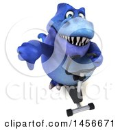 Clipart Graphic Of A 3d Blue Tommy Tyrannosaurus Rex Dinosaur Mascot Exercising On A Spin Bike On A White Background Royalty Free Illustration