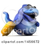 Clipart Graphic Of A 3d Blue Tommy Tyrannosaurus Rex Dinosaur Mascot Traveler With Luggage On A White Background Royalty Free Illustration