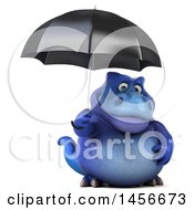 Clipart Graphic Of A 3d Blue Tommy Tyrannosaurus Rex Dinosaur Mascot Holding An Umbrella On A White Background Royalty Free Illustration