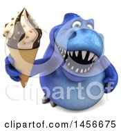 Clipart Graphic Of A 3d Blue Tommy Tyrannosaurus Rex Dinosaur Mascot With An Ice Cream Cone On A White Background Royalty Free Illustration